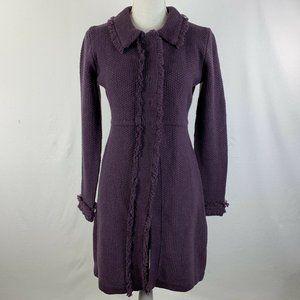 Boden Duster Cardigan 100% Wool Purple 8